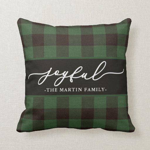 Green Buffalo Plaid with Joyful Script Christmas Throw Pillow