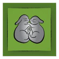 Green Bunnies Polka dots GREETING, Wedding, Easter Card