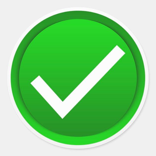 Green Check Mark Symbol Classic Round Sticker   Zazzle.com on ✔  id=97732