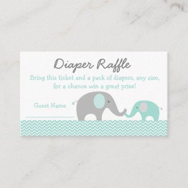 Green Chevron Elephant Diaper Raffle Tickets Enclosure Card