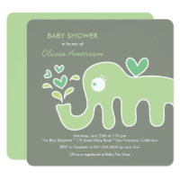 Green Elephant Gender Neutral Baby Shower Invite