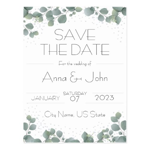 Green Eucalyptus Modern Greenery Save the Date Postcard
