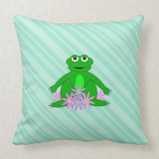 Green: Frog On A Spring Day: Throw PIllow