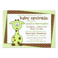 Green Giraffe Baby Sprinkle Invitations