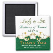 Green Gold White scrolled Wedding Favor Magnet
