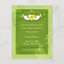 Green Irish Wedding Save the Date Postcards