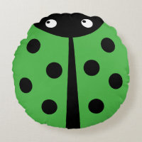 Green Ladybug Round Throw Pillow