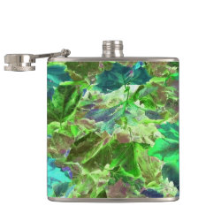 Green Leaves Abstract Pattern Hip Flask