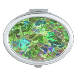 Green Leaves Abstract Pattern Mirror For Makeup
