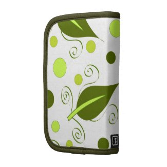 Green leaves and circles pattern folio planners