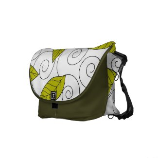Green leaves and spiral pattern commuter bags