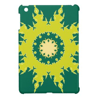 Green mandala design iPad mini cases