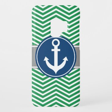 Green Nautical Anchor Chevron Case-Mate Samsung Galaxy S9 Case