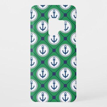 Green Nautical Anchor Pattern Case-Mate Samsung Galaxy S9 Case