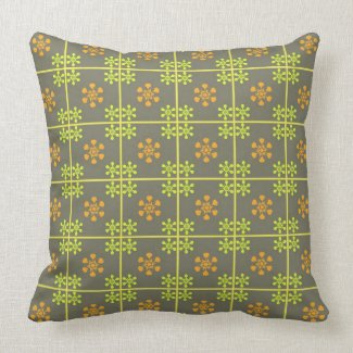 Green orange floral pattern pillow