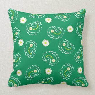 Green paisley pattern pillow