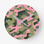 Green Pink Army Camo Camouflage Personalized Round Clock