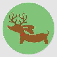 Green Reindeer Dachshund Holiday Envelope Seals
