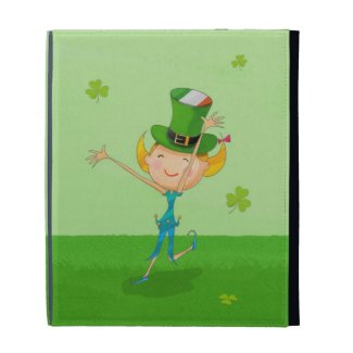 Green Shamrock Clovers & Elves with Leprechaun Hat iPad Folio Case
