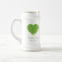 Green shamrock clovers heart wedding favor stein coffee mugs