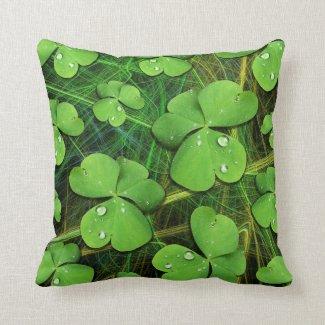 Green Shamrock St Patrick's Day pillow