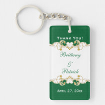 Green White Gold Scrolls, Shamrocks Favor Keychain Acrylic Keychain