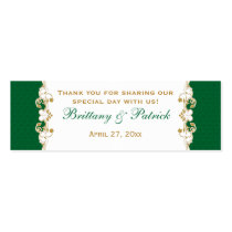 Green White Gold Scrolls, Shamrocks Favor Tag 2 Business Card Templates