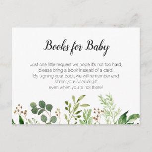 Greenery Baby Shower Bring A Book Insert Invitation Postcard