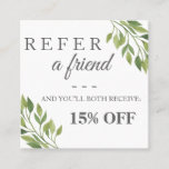 Greenery botanical square elegant referral card