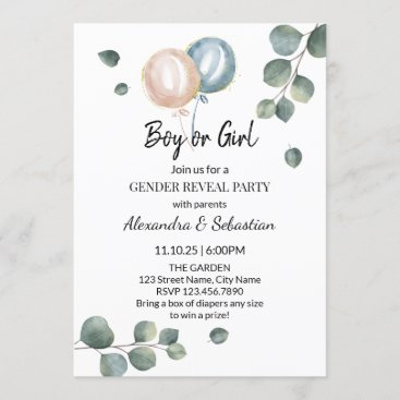 Greenery Eucalyptus Gender Reveal Invitation
