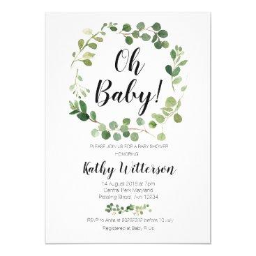 greenery oh baby shower invitation