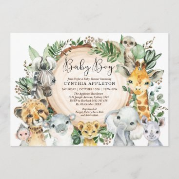 Greenery Safari Wild Animals Baby Boy Shower Invitation