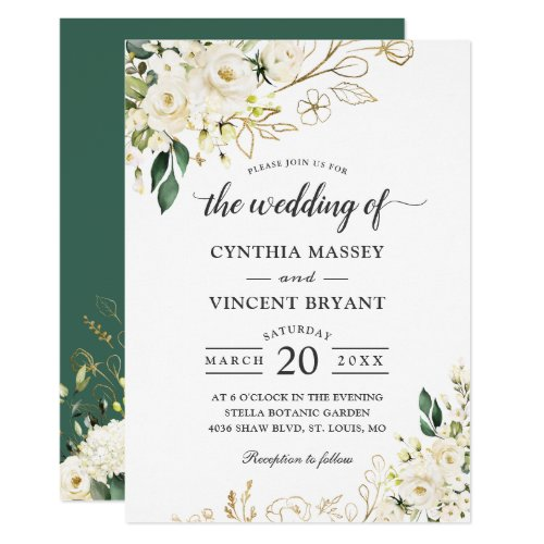 Greenery White Rose Floral Gold Leaves Wedding Invitation