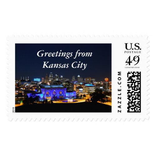Greetings from Kansas City, Union Station in Blue Stamps