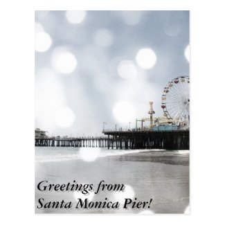 Greetings from Santa Monica Pier Grey Sparkles Postcard