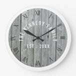 Grey And White Barn Wood Family Large Clock