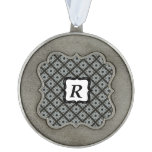 Grey Black Crisscross Scalloped Ornament