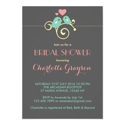 Grey Blue Pink Lovebirds Bridal Shower Invitation