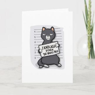 Grey cat - mugshot - cat cartoon holiday card