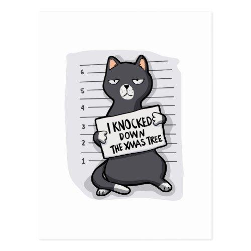 Grey cat - mugshot - cat cartoon postcard by FatCatCartoons