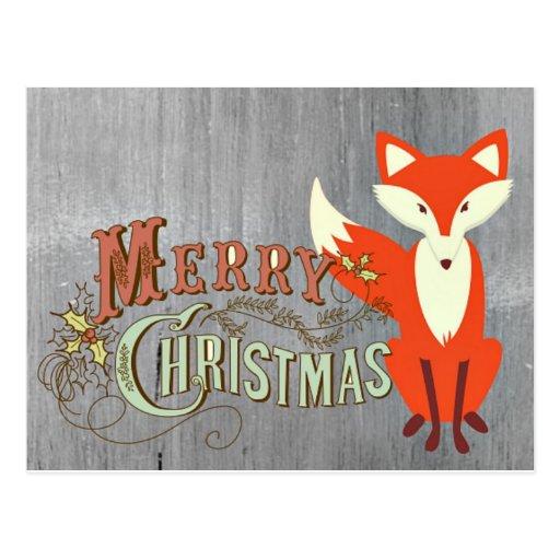 Grey Fox Merry Christmas Cards Zazzle