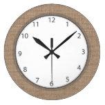 Grey Numbers Rustic Country Burlap Large Clock