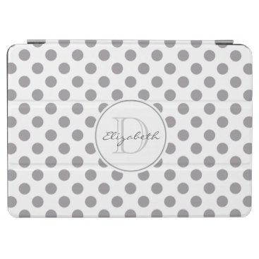 Grey Polka Dot Monogram iPad Air Cover