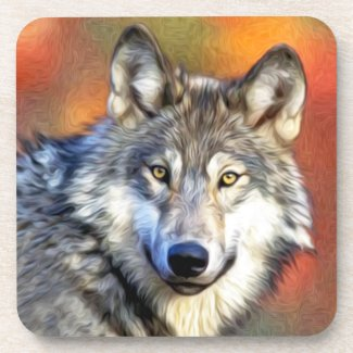 Grey Wolf Art Painting Coaster