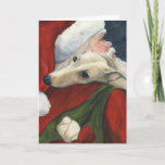 """ Greyhound and Santa"" Dog Art Christmas Card"