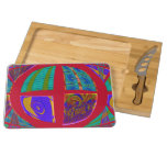 Groovy Colorful Red Abstract Rectangular Cheese Board