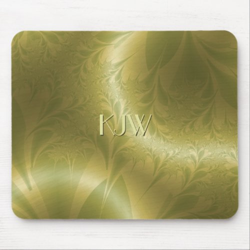 Groovy Green and Gold Paisley Mouse Pad