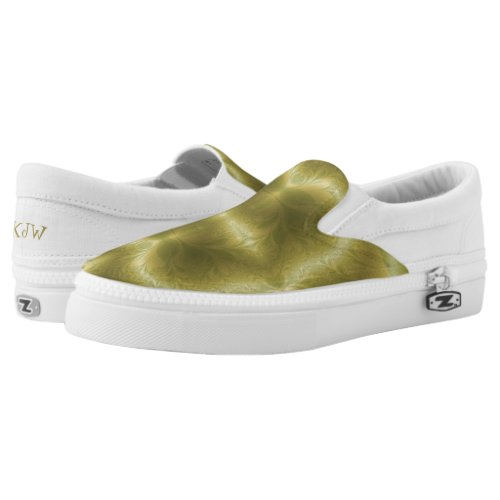 Groovy Green and Gold Paisley Printed Shoes