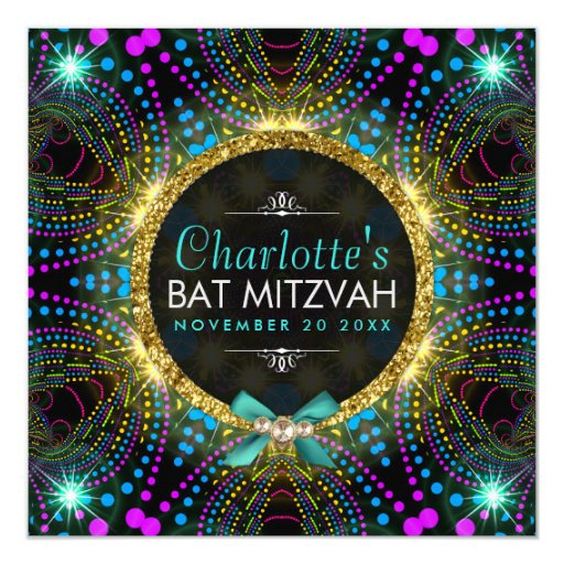 Groovy Princess Mint Pink Blacklight Bat Mitzvah Card