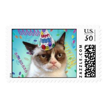 Grumpy Cat in a Birthday Hat Postage